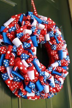 Red White & Blue Ribbon Wreath by MudpiesandSprinkles on Etsy Fourth Of July Decor, 4th Of July Celebration, 4th Of July Decorations, 4th Of July Wreath, July 4th, Patriotic Wreath, Patriotic Crafts, Patriotic Party, July Crafts