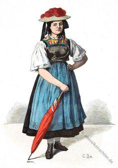 Bauernmädchen mit Bollenhut aus dem Gutachtal im badischen Schwarzwald.