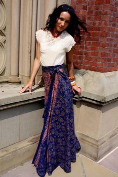 1960s indian wrap skirts blue | 1940's white crochet doily top • 1960's india print hippie wrap ...