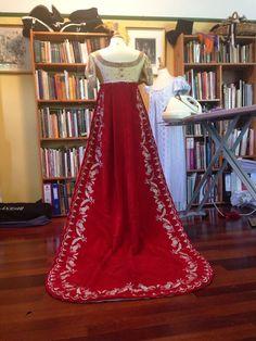 Update of Aylwen's reproduction Regency court train - in progress http://www.aylwen.blogspot.com http://www.earthlydelights.com.au