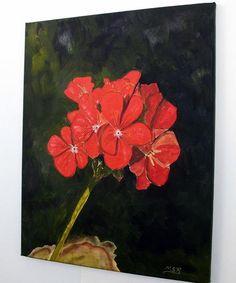 Geranium Bloom 2 Original Oil painting $325 This just POPs off the canvas! <3