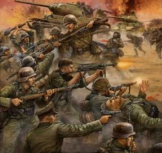 The Battle of Kursk, hand-to-hand fighting. Kursk siries Let them drown in the blood! Military Diorama, Military Art, Military History, German Soldiers Ww2, German Army, Military Drawings, Army Wallpaper, Photo Wallpaper, Red Army