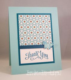 Bloomin Thank You Card Pattern Paper -- Pool Party; Island Indigo; Elegant Butterfly Punch; Bloomin' Marvelous Stamps; Sycamore Street DSP; Perfectly Penned