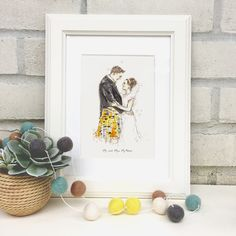 Personalised+Wedding+Couple+Hand-Drawn+Illustration, £63.00