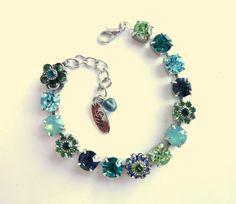 Swarovski crystal bracelet blue and green better by siggysbeads, $44.00