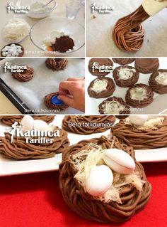 Bird's Nest Cookie Recipe, How To … – Womanly Recipes - Nachtisch Chocolate Crafts, Chocolate Desserts, Ice Cream Desserts, Mini Desserts, Bird Nest Cookies Recipe, Crystal Cake Stand, Cookie Recipes, Dessert Recipes, Food Humor