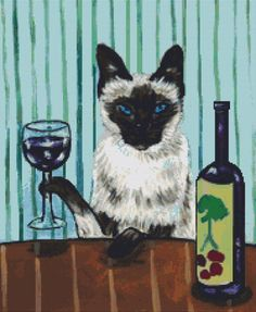 Modern Cross Stitch Kit ' Siamese Cat at the Wine by GeckoRouge, $82.00