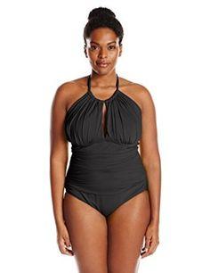 e97ec396be9 Kenneth Cole Reaction Women s Plus-Size Ruffle Shuffle Solid Hi Neck  Swimsuit Ruffle shuffle solid high neck one-piece mio swimsuit