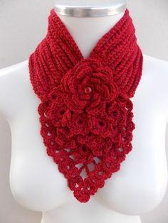 crochet neck warmer with flower Freeform Crochet, Knit Or Crochet, Crochet Scarves, Crochet Shawl, Crochet Crafts, Crochet Clothes, Crochet Stitches, Crochet Projects, Crochet Patterns