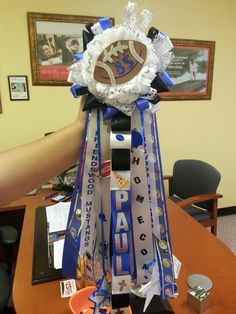 Boys homecoming arm mum. Blue, black, white, and silver