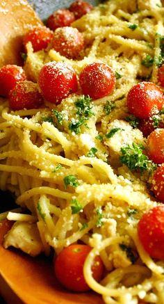 Spaghetti with Garlic, Herbs, Lemon Marinated Chicken, and Cherry Tomatoes