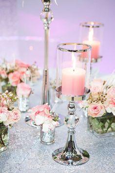 Wesele Glamour - Srebrne świeczniki - Dekoracje EDAN-ART www.edan-art.pl #glamour, #ednart #świece #srebrneswieczniki