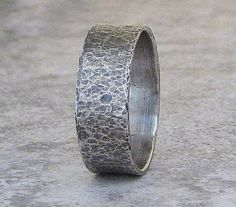 Mens Wedding Band Hammered Silver Wedding Ring Distressed Band