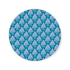 Blue Christmas Tree Round Stickers