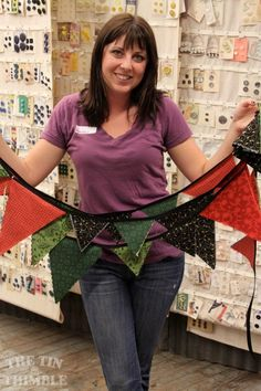 Amber and her darling pennant garland. Made in a beginning sewing class at The TIn Thimble. #thetinthimble Class Photos & Student Projects - The Tin Thimble