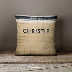 Christie Station Toronto Subway Pillow - Made in Canada Home Decor, Subway Art, Retro Home Decor - or Decorative Throw Pillow Toronto Subway, Little Italy, Rural Area, Subway Art, West End, Linen Pillows, The Neighbourhood, Canada, Decorating