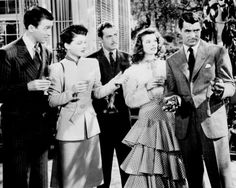 """Academy Awards - February Nominated for the Academy Award for Best Picture - """"The Philadelphia Story"""", directed by George Cukor Pictured : James Stewart Ruth Hussey John Howard Katharine Hepburn and Cary Grant Katharine Hepburn, Cary Grant, Zootopia 2016, The Philadelphia Story, Walt Disney Pictures, King Kong, Old Movies, Vintage Movies, Vintage Hollywood"""