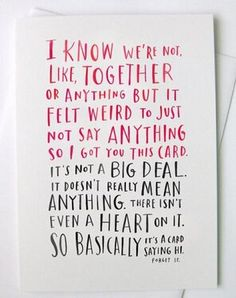 Perfect card on vday for all of those commitment phobes...that would be me!
