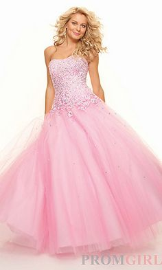 Long Strapless Beaded Tulle Ball Gown at PromGirl.com