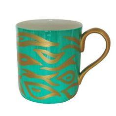 Tazza grande / mug in finissima porcellana bianca (bone china) per caffè o tè, dipinte a mano in disegno originale 'regina smeraldo'. Lussuoso cofanetto regalo per il compleanno o le madri giorno