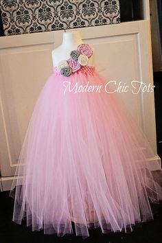 Pink and Gray Off the Shoulder Tutu Dress.  Beautiful for flower girls or any special occasion!