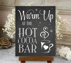 Hot Chocolate and Coffee Bar Printable Sign, and Chalkboard Style, Wedding Sign (Darby Suite - Hot Cocoa İdeas Chalkboard Art, Chalkboard Printable, Hot Chocolate Bars, Chocolate Coffee, Hot Cocoa Bar, Bar Drinks, Drink Bar, Bar Signs, Wood Signs