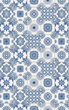 A portuguese tile design will revamp your kitchen in a stylish way, so check out this blue and white tile wallpaper, a truly realistic tile wallpaper design. Wallpaper Iphone Cute, Rustic Wallpaper, Bathroom Wallpaper, Tile Patterns, Pattern Art, Designer Wallpaper, Wallpaper Designs, Rustic Blue, Mosaics