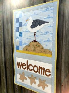 Seagull at the beach  WELCOME  quilted wall by QuiltingDiva