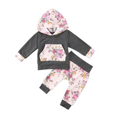 Charmkids Toddler 2Pcs Black White Striped Rose Gray Hooded Sweater Pink Rose Trousers