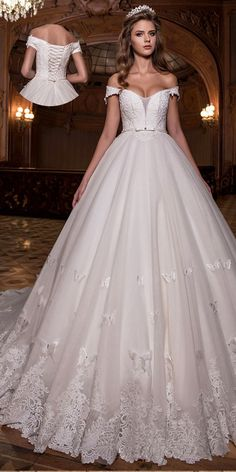 Charming Tulle Off-the-shoulder Neckline Natural Waistline Ball Gown Wedding Dress With Lace Appliques & Handmade Butterflies & Beadings