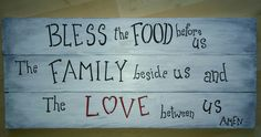 Wood signs for the home , marymakeskeepsakes.ca Bless The Food, Caricatures, Wood Paneling, Wood Signs, Mary, Messages, Kitchen, How To Make, Wooden Panelling