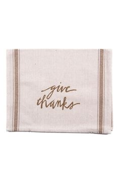 This 'give thanks' tee towel is the perfect host gift for Thanksgiving.