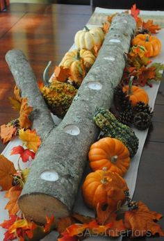 easy autumn center piece - drill holes in a log add candles and small gourds. Delete the gourds, and add Christmas.