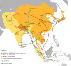 """Buddhist expansion in Asia, Mahayana Buddhism first entered China through Silk Road."