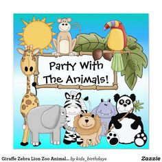 Giraffe Zebra Lion Zoo Animals Birthday Invitation