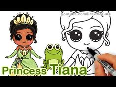 How to Draw Disney Princess Tiana Cute step by step 'The Princess and th...