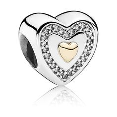 Pandora Charm Immer in meinem Herzen 791523CZ Sterling Silber Zirkonia 14-K-Gold