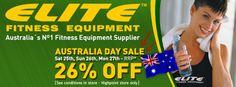 Elite Fitness Australia Day Sale 2014 Fitness Equipment Sale Melbourne Elite Fitness, Fitness Equipment, No Equipment Workout, Australia Day, Melbourne, Conditioner, Ads, Gymnastics Equipment, Australia Day Date