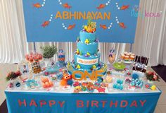 Finding Nemo birthday party dessert table! See more party planning ideas at CatchMyParty.com!