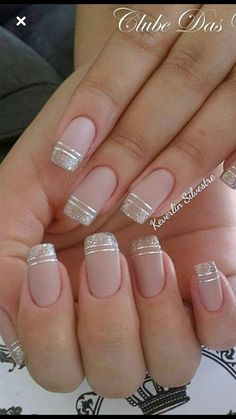 nails - NagelDesign Elegant ( Maravilhosa Caroline Fo ) caroline elegant manicure maravilhosa na Cute Acrylic Nails, Cute Nails, Pretty Nails, Gel Nails, Gold Tip Nails, Acrylic Tips, Nail Nail, Square Nail Designs, French Nail Designs