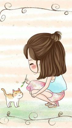 รูปภาพ cute, cartoon, and girl