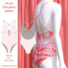 Avoca One piece pattern  Features High cut legs & cross over back.