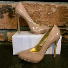 Steve Madden 'Alera' Size 9 nude patent leather pumps, Heel height: 4.75 inches, .5 inch platform - worn ONCE in store only Steve Madden Shoes Heels