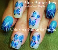 "Nail-art by Robin Moses: ""blue butterflies"" ""butterfly nail art"" ""butterfly..."