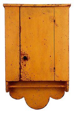 Hanging Cupboard. scallops, yellow.