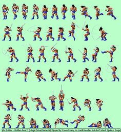 Ax Battler Mega Drive Games, Video Game Sprites, Warrior Drawing, Beat Em Up, Pixel Art Games, Pixel Design, Animation Reference, Action Poses, Video Game Characters