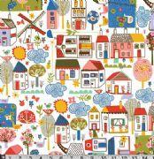 Village Houses Fabric Carolyn Gavin