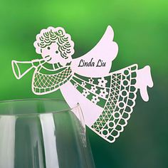 """Place+Cards+and+Holders+""""Angel""""+Place+Card+For+Wine+Glass+Card+(Set+of+12)+–+GBP+£+1.39"""