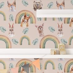 Rainbow Animals removable wallpaper. Easy do-it-yourself wall fabric. Choose between Peel & Stick Wallpaper and Pasted Wallpaper (Free adhesive). Free shipping above $250 in Australia 🇦🇺 Available in more colours. Wall Fabric, Removable Wall Murals, Peel And Stick Wallpaper, Adhesive, Gallery Wall, How To Remove, Rainbow, Australia, Colours