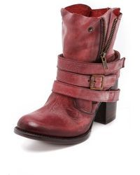 Freebird by Steven | Bama Wrap Strap Booties  Red | Lyst